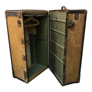 20th Century Industrial Altman & Co. Wheary Steamer Trunk Wardrobe For Sale