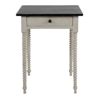 Antique White Painted Side Table With Black Top For Sale