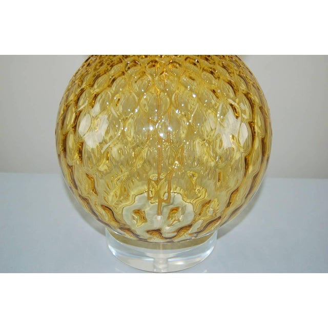 1960s Vintage Murano Stacked Ball Glass Table Lamps Gold For Sale - Image 5 of 10
