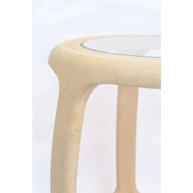 Animal Skin Pair of American Modern Shagreen and Glass Side Tables by Maitland-Smith For Sale - Image 7 of 9