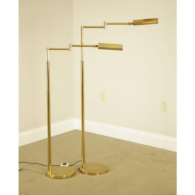 1970s Koch & Lowy OMI Vintage Brass Pair Swing Arm Floor Lamps For Sale - Image 5 of 12