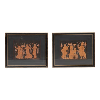 Framed Red Attic Pottery Prints - a Pair