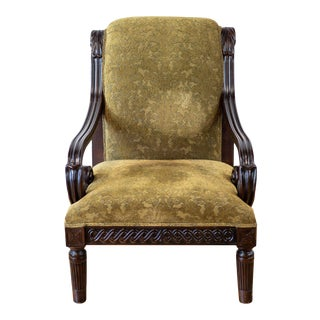 Vintage Velvet Carved Armchair For Sale
