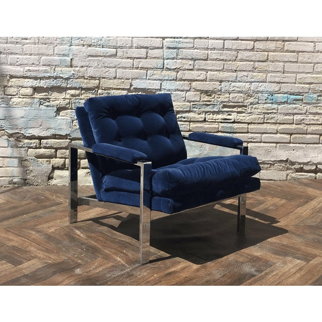 Milo Baughman Blue Velvet Club Chair - Image 2 of 5