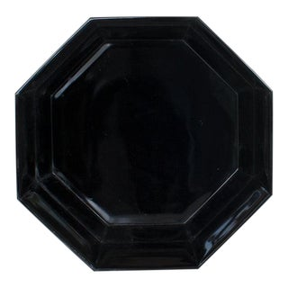 French Arcoroc Octagon Black Glass Bowl