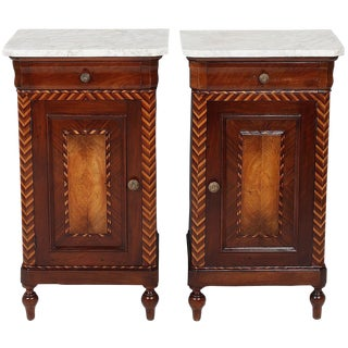 19th Century Italian Marble Top Nightstands With Chevron Inlay - a Pair For Sale