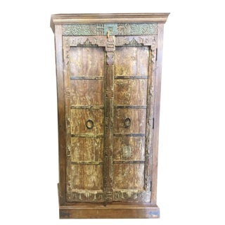 Antique Indian Old Doors Armoire Huge Almirah Cabinet Wardrobe Rustic Teak For Sale