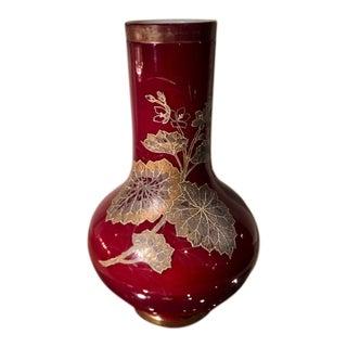 Rare Antique Hobbs Wheeling Blood Red Cased Glass Vase For Sale