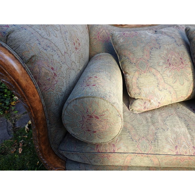 Walter E. Smithe Carved Wood Sofa For Sale - Image 5 of 11