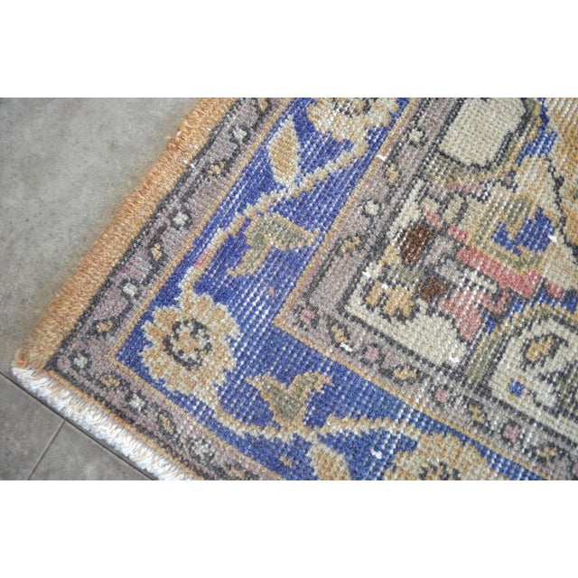 Blue Traditional Design Distressed Oushak Runner Rug Faded Colors Low Pile - 2'12″ X 10'10″ For Sale - Image 8 of 10