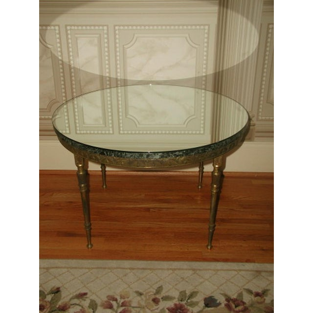 Bronze Neoclassical Marble & Mirror Coffee Table - Image 3 of 10