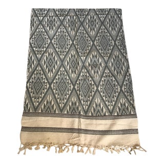 Grey & White Woven Ikat Fringed Textile Throw Blanket