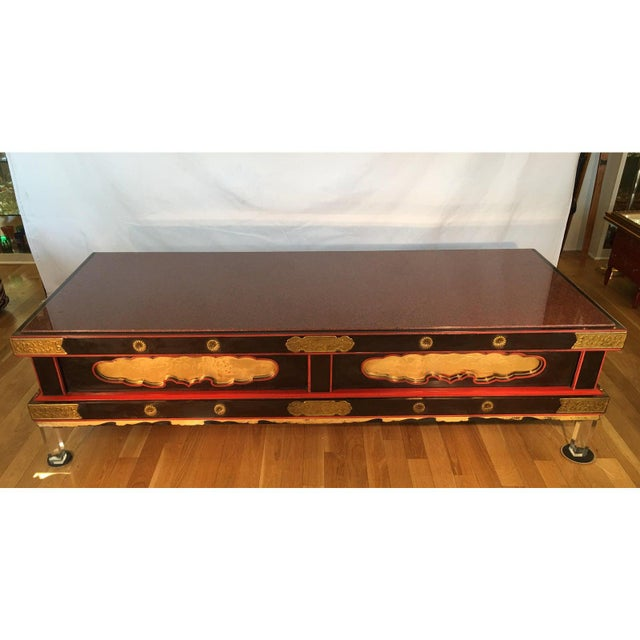 Rare Antique Japanese Coffee Table W Rouge Marble Top & Lucite Legs For Sale In Los Angeles - Image 6 of 7