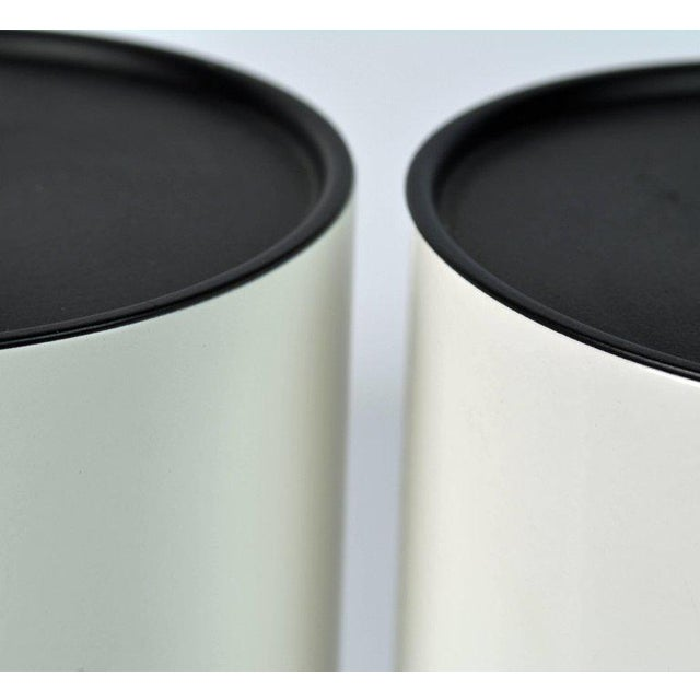 Enamel Pair of 1970s White Enameled Cylinder Lamps by Robert Sonneman for Kovacs For Sale - Image 7 of 8