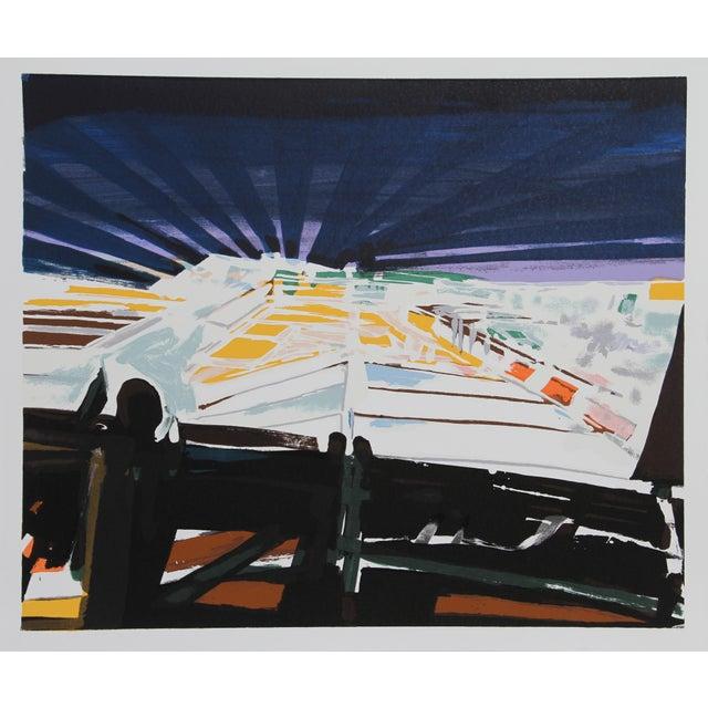 Artist: John Hultberg, American (1922 - 2005) Title: Barricade Year: circa 1978 Medium: Silkscreen, signed and numbered in...