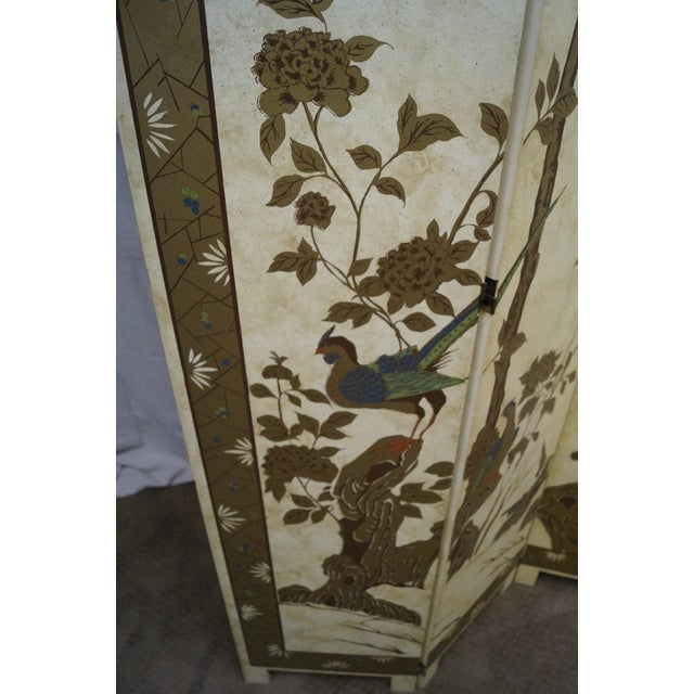 Vintage Chinoiserie Painted Folding Screen - Image 4 of 10