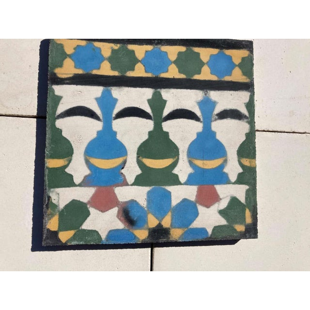 Moroccan Encaustic Cement Tile Border with Moorish Fez Design For Sale - Image 10 of 13