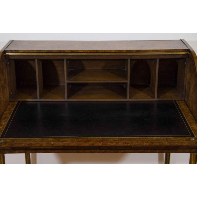 Bernhard Rohne Hollywood Regency Mastercraft Roll Top Brass Bamboo Writing Desk For Sale - Image 4 of 6
