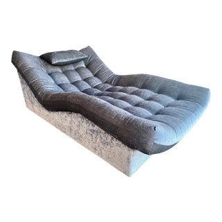 Reupholstered 70s Sculptural Platform Base Button Tufted Chaise Lounge in the Style of Adrian Pearsall For Sale