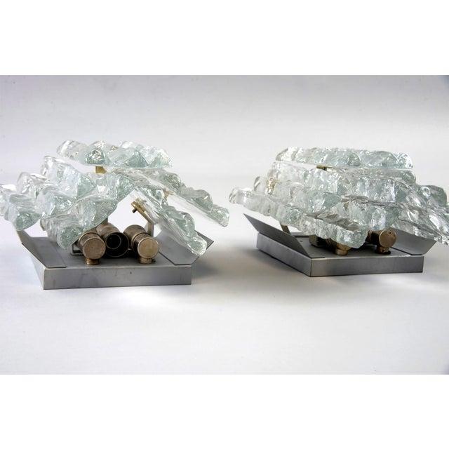 Kalmar Pair Kalmar Ice Glass Sconces Austria For Sale - Image 4 of 5