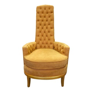 Mid-Century Modern Fully Tufted High Back Occasional Chair For Sale