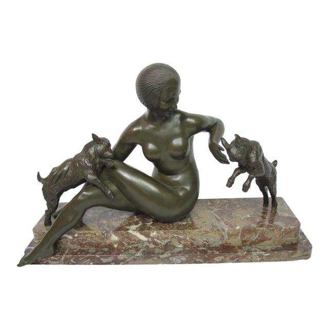 Late 19th Century Antique Maurice Guiraud Riviere Nymphe Et Chevreaux Nude Woman With Goats Bronze Sculpture For Sale
