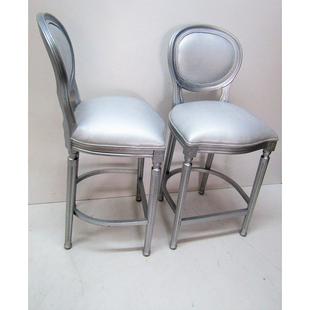 Mid-Century Modern 1980s Vintage Silver Beechwood Barstools With Metallic Faux Leather Seats- A Pair For Sale - Image 3 of 6