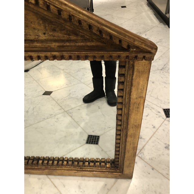 Early 20th Century Antique George III Style Pedimented Giltwood Mirror For Sale - Image 5 of 13