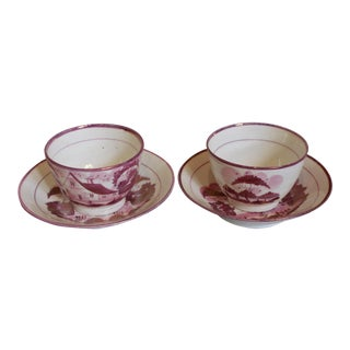 Antique Pink and Red Handleless Cups & Saucers - a Pair (4 Pieces) For Sale
