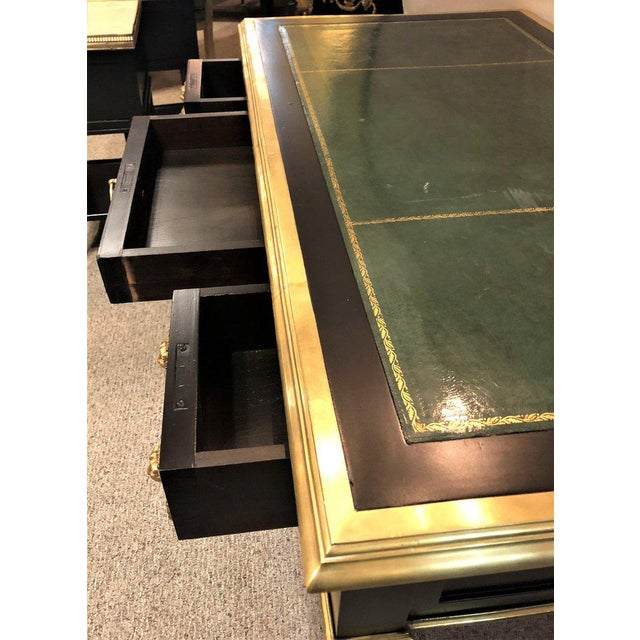 Pair of French Ebony Leather Top Bronze-Mounted Desks in Maison Jansen Manner For Sale - Image 10 of 13