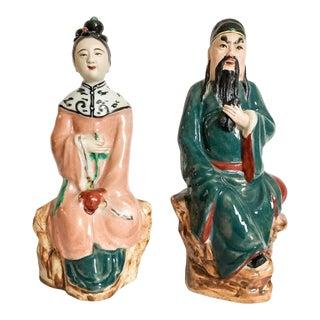 Chinoiserie Mud Figures, Pair