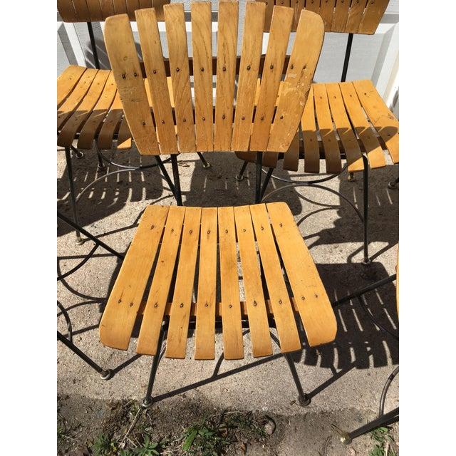 Arthur Umanoff Slatted Wood & Iron Chairs - Set of 30 For Sale - Image 9 of 13