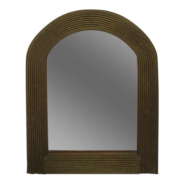 """31"""" Arch Top Mirror Gold Rattan Wicker For Sale"""