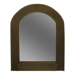 "Vintage 31"" Gold Rattan Wicker Arch Top Wall Mirror For Sale"