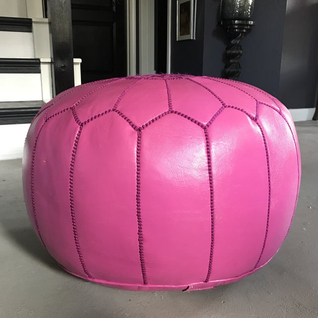Moroccan Pink Leather Pouf - Image 4 of 6