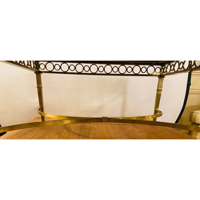 1970s Hollywood Regency Granite Top on Brass Base Center Table For Sale - Image 5 of 13