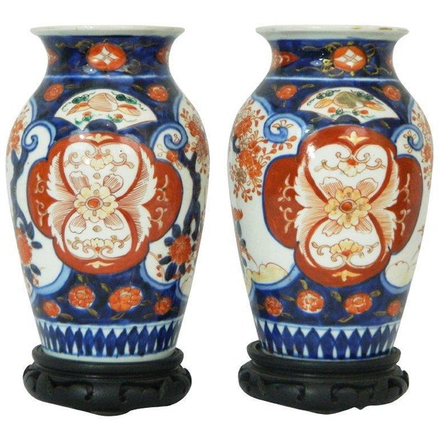 Blue Pair of Imari Vases Depicting Floral Decorations on Stands, 19th Century For Sale - Image 8 of 8