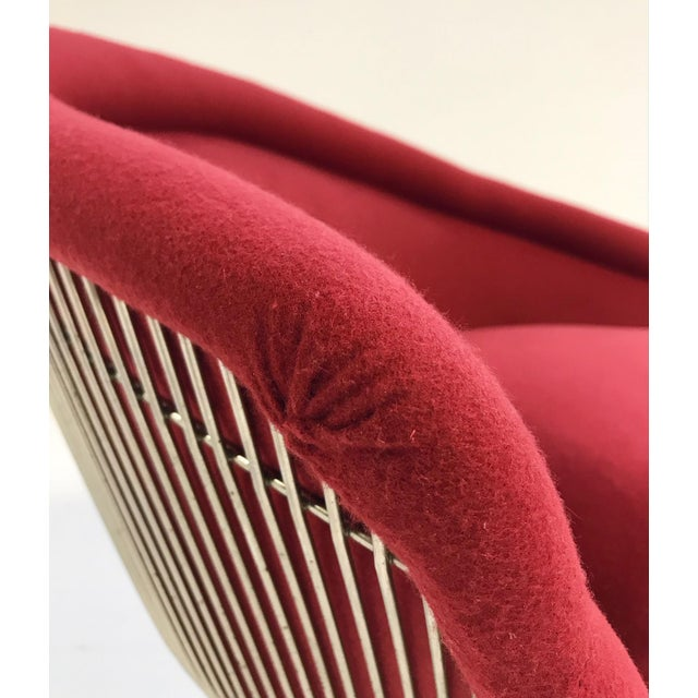 Warren Platner for Knoll Lounge Chairs Restored in Loro Piana Red Cashmere - Pair For Sale - Image 12 of 13