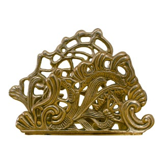 Vintage Brass Teleflora Letter / Napkin Holder For Sale