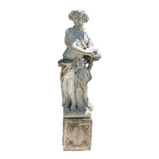 Vintage Early 20th Century Italian Allegory of Automn Concrete Statue For Sale