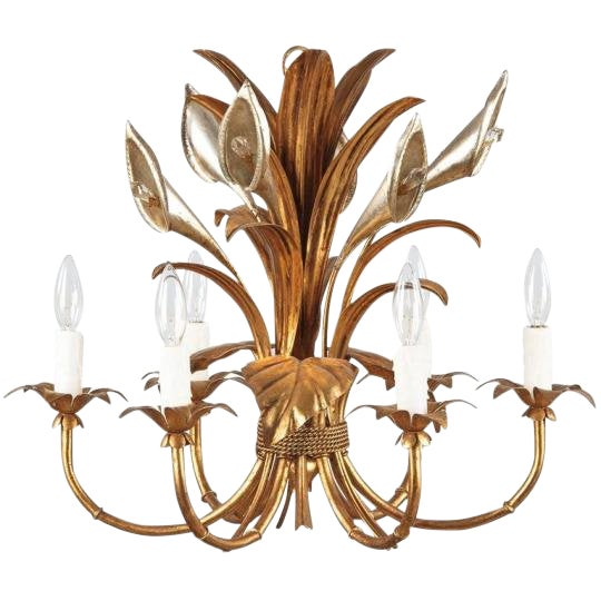 1950s French Gilded Metal Chandelier For Sale