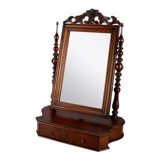 Antique William and Mary School Carved Mahogany Two-Drawer Shaving Mirror For Sale