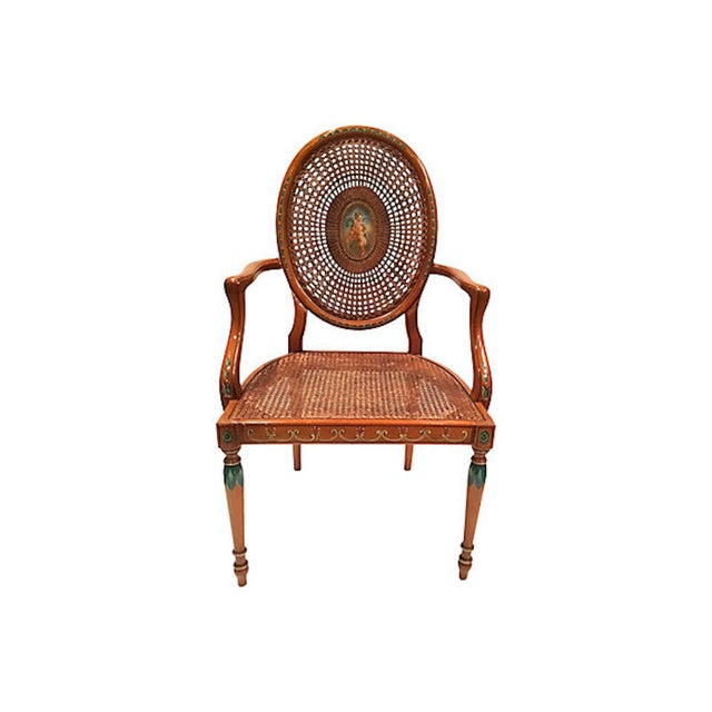 Early 20th Century Vintage Cherub Medallion Hand-Painted Armchair For Sale - Image 4 of 9