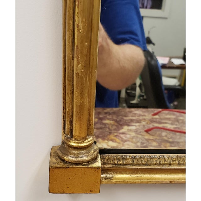 Antique Federal 19th Century Giltwood Eglomise Reverse Painted Gold Leaf Hanging Wall Mirror For Sale - Image 4 of 7