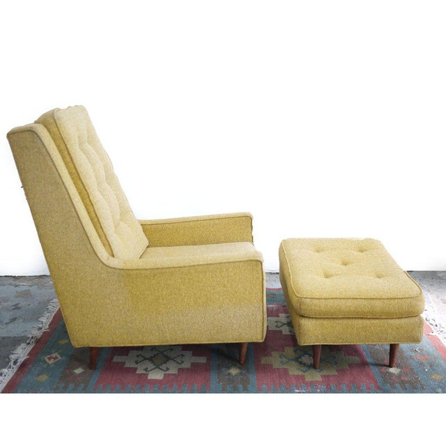 Mid-Century High Back Arm Chair & Ottoman - A Pair For Sale In Los Angeles - Image 6 of 6