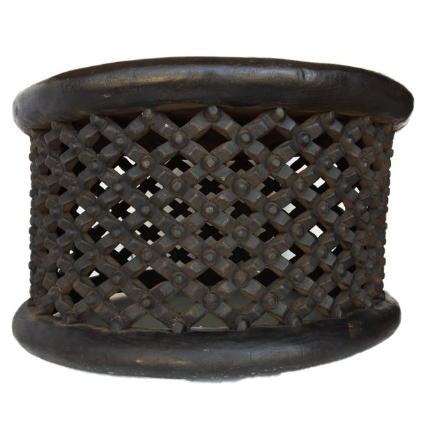 """African Bamileke Spider Table/ Stool 30.5"""" D For Sale - Image 4 of 7"""