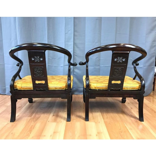 Asian Chinese Rosewood Horseshoe Chow Chairs, 1920s - A Pair For Sale - Image 3 of 10