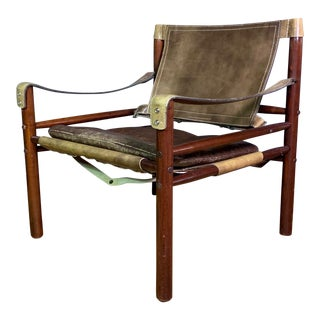 "Arne Norell ""Sirocco"" Leather Safari Chair Sweden For Sale"