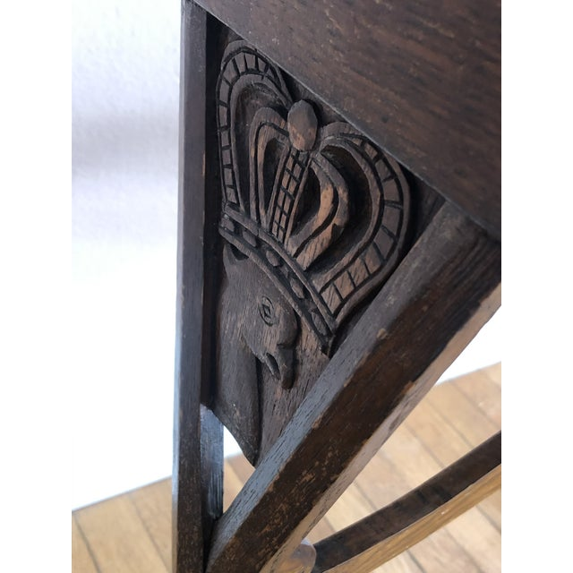 Late 19th Century Antique English Carved Oak End Table With Crown and Black Glass Top For Sale - Image 5 of 11