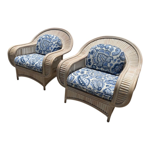 1970s Vintage Bamboo Lounge Chairs - a Pair For Sale